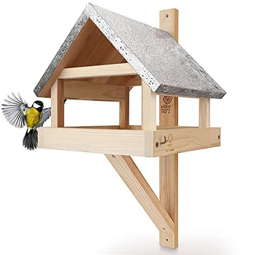 wildtier herz I XL Vogelhaus für die Wand mit Zink-Dach – Wetterfest aus massivem Holz I Wandvogelfutterhaus für Vögel, Vogelfutterhaus zum Aufhängen
