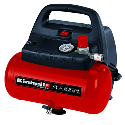 Einhell 4020495 Kompressor TC-AC 190/6/8 OF (1.100 W, max. 8 bar, öl-/servicefreier Motor, 6 Liter...