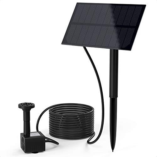 Ankway Solarspringbrunnen für Aussen, Solarpumpe Miniteich mit Bodenpfahl, Solarpumpe für Außen Garten Teich Draussen Vogeltränke