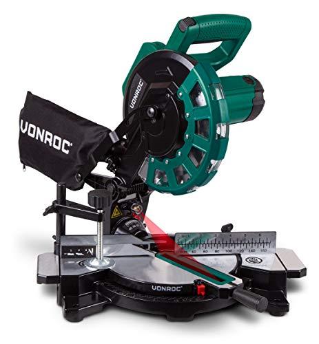 VONROC Radialkappsäge - Gehrungssäge 1700W - Ø 216 mm Sägeblatt mit 40 Sägezähnen - mit Laser