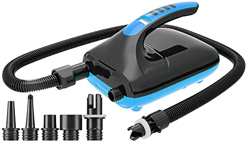AGT SUP Pumpe: Elektrische Luftpumpe für SUP-Boards & Boote, 6 Aufsätze, 500 l/Min. (Reise Luftpumpe)