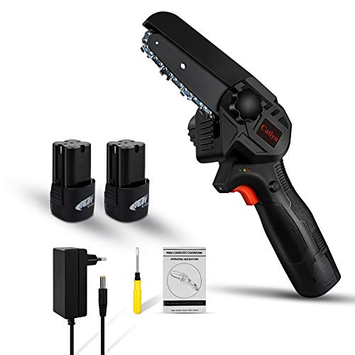 Mini Kettensäge, Kettensäge Elektro 16.8V 4 Zoll Kettensäge Akku Klein, LED-Beleuchtung, Akku-handkettensäge Mit Ladegerät Und 2 Batterien für Holz und Gartenarbeiten