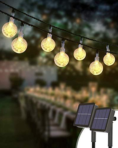 [2 Stück] Solar Lichterkette Aussen, kolpop Lichterkette Außen 60 LEDs Kristallkugeln Lichterkette Wasserdicht Balkon Lichterkette 8 Modus Solarlichterkette Deko für Garten/Terrasse/Hochzeit