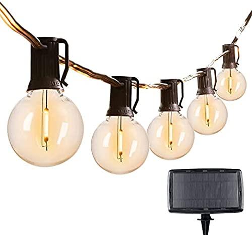 Solar-Lichterkette für den Außenbereich, 7,6 m, G40 Terrassenleuchten mit 25 bruchsicheren LED-Leuchten, 4 Lichtmodi, wetterfeste Hängeleuchten für Hinterhof, Bistro, Pergola, Party-Dekoration.