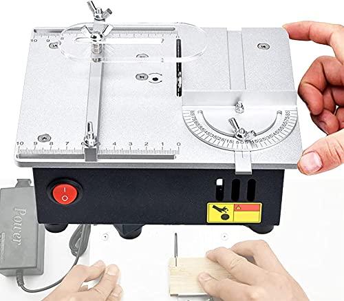 HHORB Desktop-Mini-TischkreissäGe Mit Vakuumschlauch, 96 W 7-Gang-Regulierung Verbesserter 775-Motor, Diy-TischkreissäGe Aus Aluminiumlegierung, FüR Holzmodellbau-Leiterplattenschneiden Hohe Konfigura