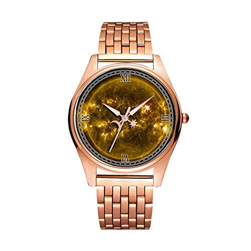 Minimalistische goldene Quarz-Armbanduhr, Elite, ultradünn, wasserdicht, Sportuhr, künstlerisches Muster, 266. Solar-Fackel, Sonne, Eruption, Energie (1)