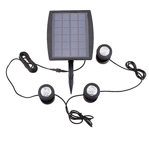 Lixada Solar Teichbeleuchtung, Draussen Tauchstrahler Einstellbare Unterwasserleuchten, IP68 wasserdicht, 18 LEDs Solar Spotlight Licht für Garten, Brunnen, Terrasse, Liegewiese (Set von 3 Leuchten)