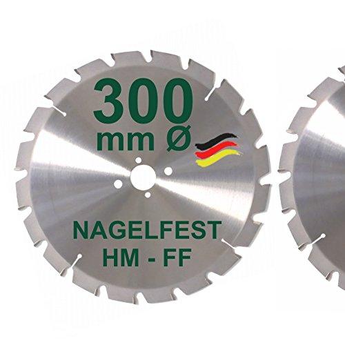 HM Sägeblatt 300 x 30 mm NAGELFEST FF Hartmetall Kreissägeblatt 300mm für Bauholz Brennholz Schalholz Leimholz zum Sägen mit Wippsäge Tischkreissäge Kreissäge Kappsäge Brennholzsäge Tischsäge