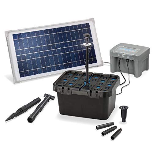 Solar Teichfilter Set Profi bis 1.000 l Teich - 500 l/h Förderleistung 15 Watt Solarmodul - neuester 12 V/7...