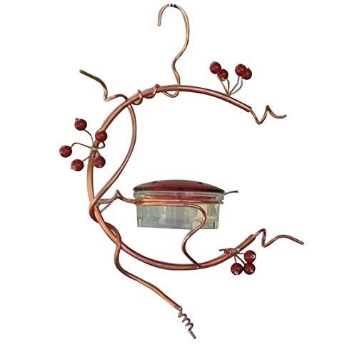 XIHUANNI Red Berries Kolibri Futterspender Rote Miniblüte Hängende Futterstation mit Flamme Traumhaus Vogelhaus für kleine Vögel