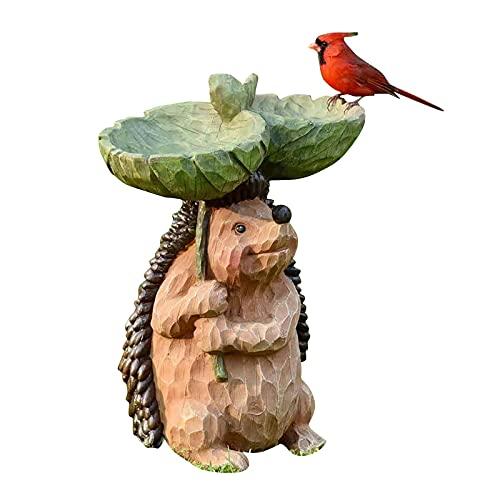 JIJK Igel-Vogeltränke und -stützen, aus Kunstharz, Doppelschalen mit Kardinal, antike Vogeltränke, Vogeltränke für Zuhause, Garten, Hof-Dekoration