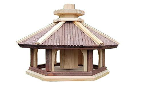 Vogel Futter Haus Futterstelle Sechseck aus Holz Vogelhaus