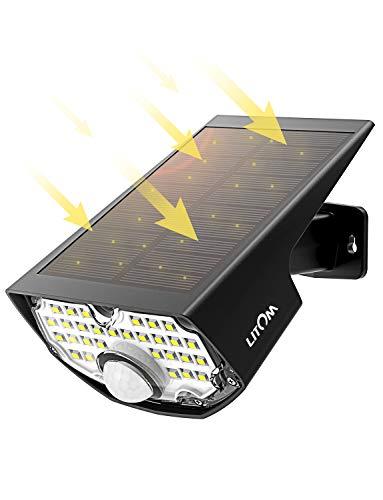 LED Solar Strahler【Super Hell 350 Lumen】, LITOM Solar LED-Außenleuchte,Solarleuchte mit...