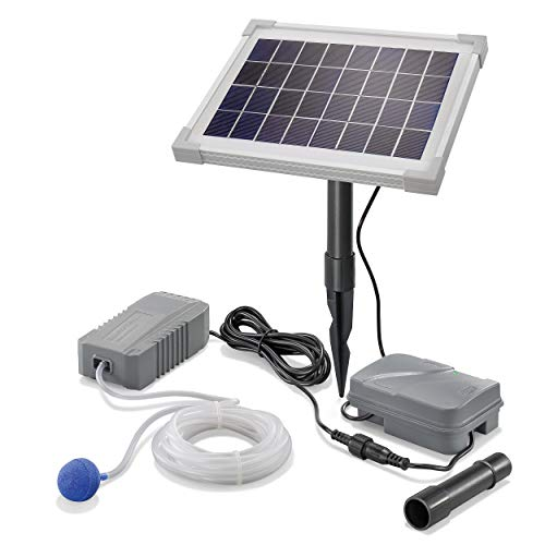 Solar Teichbelüfter Professional mit Akkuspeicher - 5W Solarmodul 130 l/h Luft - extragroßes Solarmodul plus...