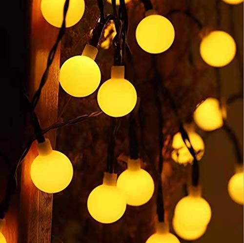 Warme Farbe Solar LED Lichterkette kleine weiße Kugel Milchschaum Outdoor Landschaft Garten Dekoration Lichter Weihnachtstag Beleuchtung 50LED