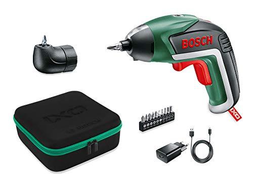 Bosch Akkuschrauber IXO Medium Set (5. Generation, Winkelaufsatz, 10 Bits, USB Ladegerät, Softcase, 3,6 Volt)