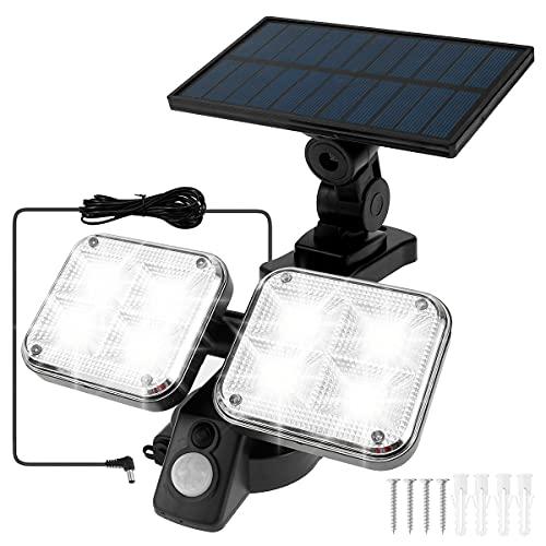 GORWOCO8 Solarlampen für außen mit Bewegungsmelder 120 SMD Solarleuchten für außen IP65 LED Strahler Außen Solar Außenwandleuchten Aussenleuchte