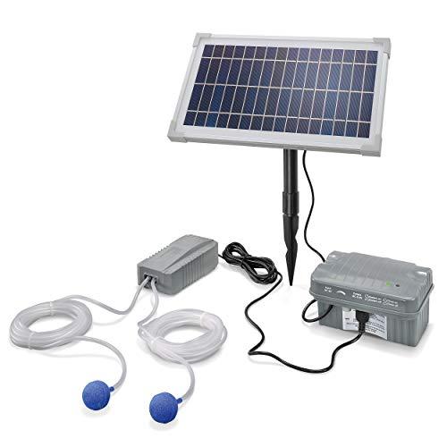 Solar Teichbelüfter Professional mit Akkuspeicher - 8W Solarmodul 200 l/h Luft - extragroßes Solarmodul plus...