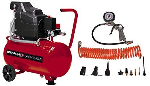 Einhell 4007339 Kompressor TC-AC 190/24/8 Kit (max. 8 bar, 24 l-Tank, Manometer + Schnellkupplung, Rückschlag-/Sicherungsventil, inkl. Druckluftschlauch, Reifenfüllmesser und Adapter-Set)