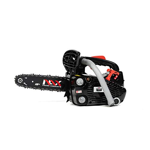 NAX POWER PRODUCTS 100C Motor 25,4 cm3 0,75kW Führungsschiene 10' 25cm Anti-Rückschlag-System Low Kickback Briggs & Stratton Lizenzware Benzin-Säge Kettensäge, Schwarz