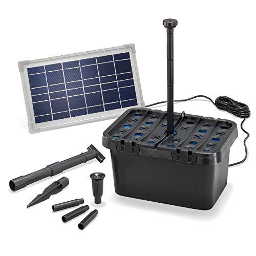 Solar Teichfilter Komplettset Professional - 380 l/h Förderleistung + 8 W Solarmodul - Komplettset für Teiche und Schalen bis 1.000l - dekoratives Wasserspiel - Teichpumpe Solarpumpe esotec 100900