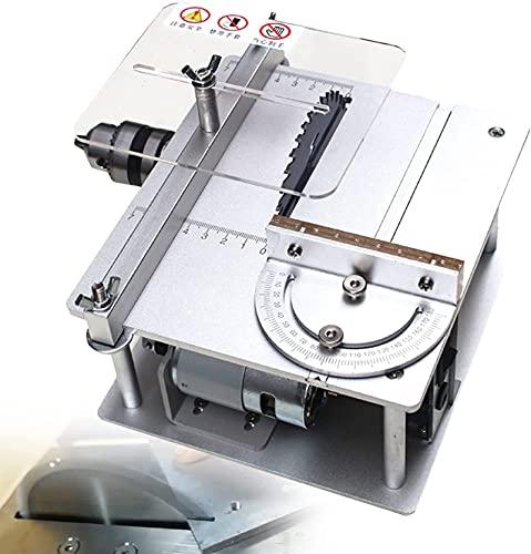 HHORB Mini Holzbearbeitungs-TischkreissäGe, 795 Motor Professional Diy TischkreissäGe, 7-Gang-EinstellsäGe HöHe 30 Mm PräZisions-T-Schlitz 0-90 ° Winkel-Drucklineal FüR Diy-Modelle Holz