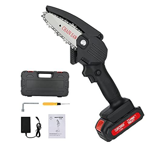 Mini Kettensäge, CURCONSA 4 Zoll Mini Kettensäge mit Akku, Kleine Elektrische Handsäge mit 2Ah Batterie und...