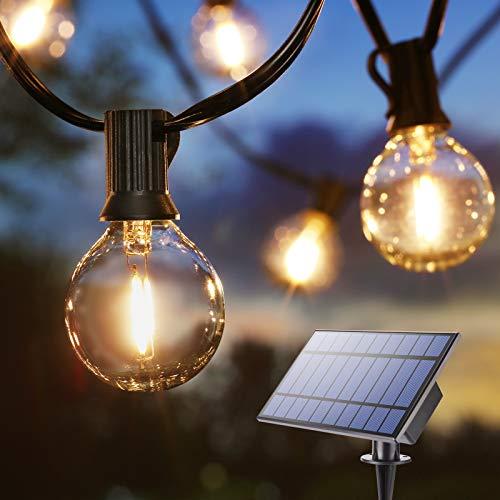 BrizLabs Lichterkette Außen Solar G40 Glühbirnen 9.9M 25 LED Garten Glühlampen Lichterkette Aussen Wasserdicht Birnen Beleuchtung für Hochzeit Party Patio Terrasse Innen Haus Weihnachtsdeko, Warmweiß
