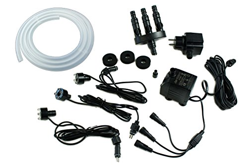Arnusa Springbrunnen Pumpe 800 L/H Komplett Set mit 3er LED-Beleuchtung inkl.3 Wege Schlauchadapter, Schlauch und Schaumstoffdichtungen (800 L/H, Warm-Weiß)