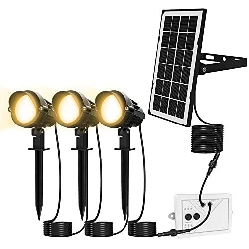 Solar Gartenleuchte MEIKEE 300LM Garten Solarstrahler IP66 Wasserdicht LED Solarlampe Außen Solarleuchte 3 Stück mit Erdspieß Wegeleuchte für Bäume, Sträucher, Gartenweg, Rasen, Hof 3000K Warmweiß