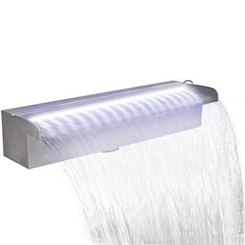 Fest-night Edelstahl Rechteckige Wasserfall Wasserfontaene Pool-Fontaene mit LED Beleuchtung Wasserspiel 45 cm