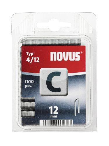 Novus Schmalrückenklammern 12 mm, 1100 Klammern vom Typ C4/12, Heftmittel für Profilhölzer, Paneele und...