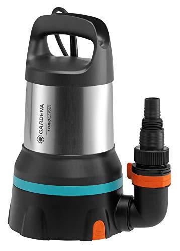GARDENA Klarwasser-Tauchpumpe 11000 aquasensor: Entwässerungspumpe mit innovativem Aquasensor, Fördermenge bis zu 11.000 l/h, Flachabsaugung bis 1 mm, Schnellkupplungssystem, 450 W (09034-20)