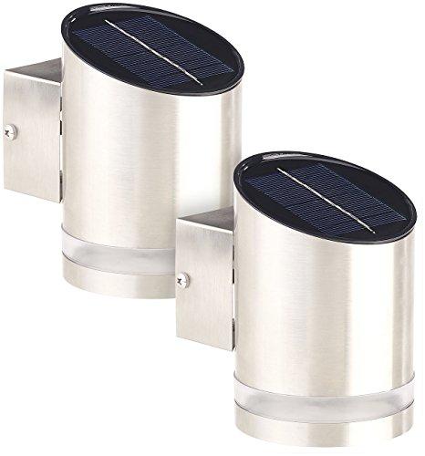 Lunartec Solar Aussenleuchte: 2er-Set Elegante Solar-LED-Wandleuchte für den Außenbereich, Edelstahl (Wandstrahler)