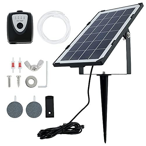 3.5W Solar Teichbelüfter mit Akku USB Wiederaufladbare 4000 mAh Sauerstoffpumpe mit Zwei Luftblasenstein Vier Schläuche für Gartenteiche Aquarium Teich Schwarz