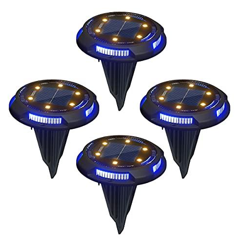 GREPRO Solar Bodenleuchten Aussen 4 Stück, 10 LEDS Solarlampen für Außen, Gartenleuchte Solar IP65 Wasserdicht Warmweiß Gartenleuchten Solar für Rasen/Auffahrt/Gehweg/Patio/Garden Solarleuchte