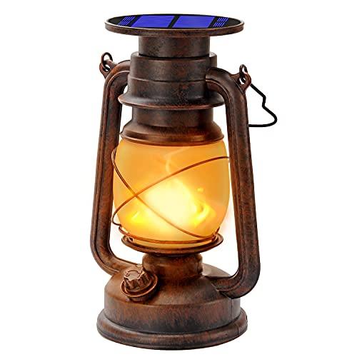 Vintage Solarlaterne Für außen Solar-LED-Sturmlampe Warmweiß Ultra Helle Dimmbare LED-Sturmleuchte Retro Design LED-Sturmlaterne Mit Flammen-Effekt Wasserdicht Für Garten,Camping (1Pack)
