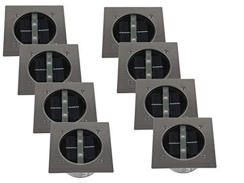 8er SET moderner Solar LED Bodeneinbaustrahler 4-eckig in Edelstahl / Glas für Außen