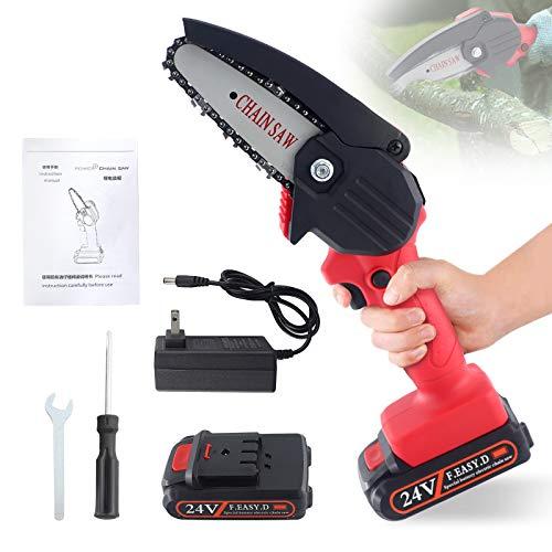 Snowtaros 4 Zoll Mini Elektrische Kettensäge, 24V Akku-handkettensäge mit Ladegerät & 1 Batterien, Wiederaufladbar Leichte, Elektrische Schnittsäge für Gartenbaum Holzschnitt