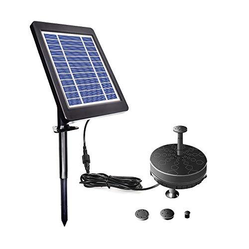 Decdeal Solarbetriebene Springbrunnenpumpe, 6 V, 3.5 W, verbesserte Solar-Teichpumpe, solarbetrieben, bürstenlose Wasserpumpe für Vogeltränke, eingebaute Batterie, Garten, Teich und Pool