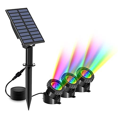 T-SUN LED Teich Licht, Solar Teichbeleuchtung IP68 wasserdicht, 9 LEDs Solar Spotlight Licht für Garten, Brunnen, Terrasse, Liegewiese