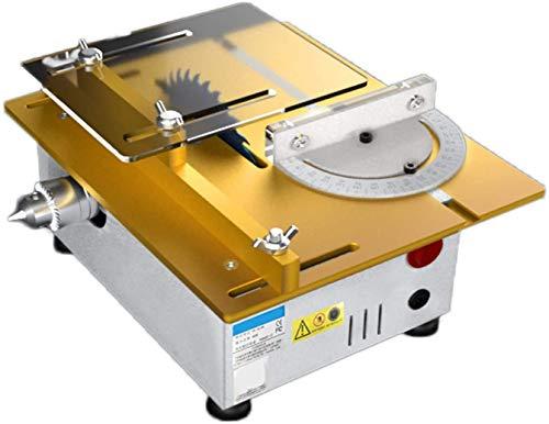 HTDHS Mini anhebbare Tischsäge, Leistung 96w Tischsägen mit Kreissägeblatt, geräuscharm, Winkellineal 0-90 ° einstellbar, Schneidwerkzeuge mit Variabler Geschwindigkeit für DIY Hobby