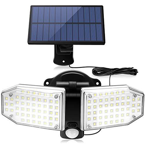 Solarlampen für Außen mit Bewegungsmelder, ZOYJITU 100 LED Strahler Außen 270° Superhelle Solarleuchten für Außen LED IP65 Wasserdichte 3 Modi Solar Wandleuchte mit 16.5ft Kabel, LED Solarleuchte