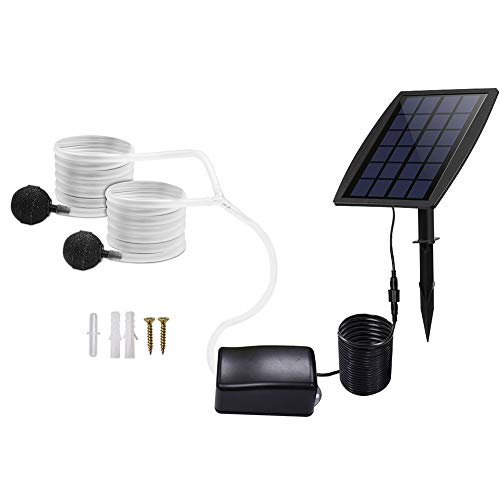 Apofly Solar Panel Aquarium Luftpumpe Kit einsetzen Grundwasserluftpumpe Oxygenator Solar Teichbelüfter mit Sauerstoff Schläuche Air Stone Pond Fish Tank Garten
