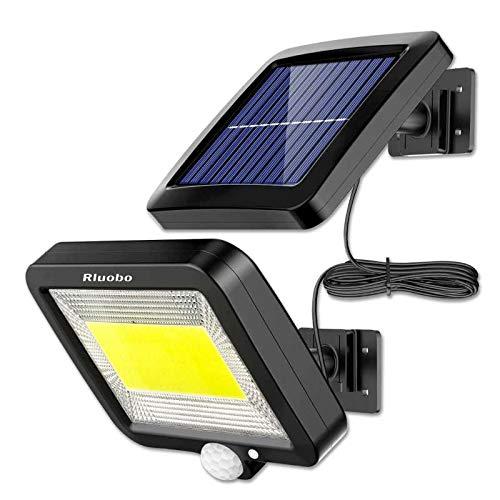 Solarlampen für Außen mit Bewegungsmelder, Rluobo 100 LED Strahler Außen 120° Superhelle Solarleuchten für Außen LED IP65 Wasserdichte 3 Modi Solar Wandleuchte mit 16.5ft Kabel, LED Solarleuchte