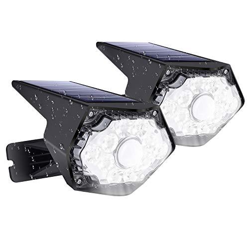 AOMEES LED Strahler Außen Wandlampe IP67 Wasserdicht Außenlampe mit Bewegungsmelder 10 LED 400 Lumen Solarlampen für Außen 2pcs