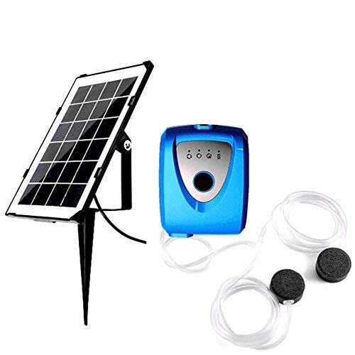 EastMetal Solar Teichbelüfter, Doppel-Luftloch-Plug-In Solar-Sauerstoffpumpe, 2-Gang-Solarpumpe Wasserpumpe, Aquarien Solarbetriebene Luftpumpe, für Fischtanks, Gärten, Haus, Angelbegeisterte