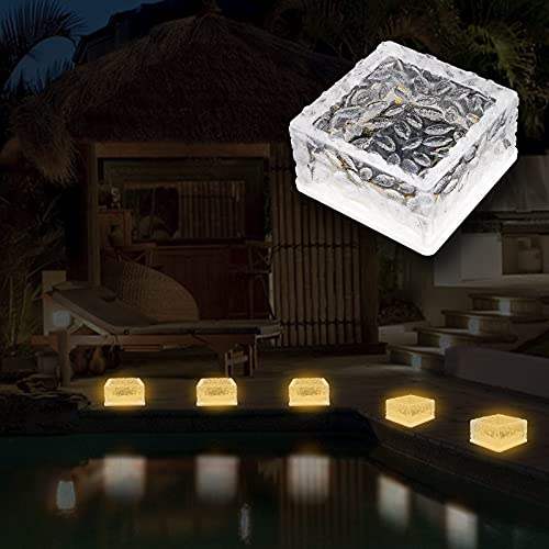 MEDOYOH 1 Stück 6 LED Solar Boden Außenleuchte Ice Brick Licht, Warmweiß Licht On/Off Lichtsensor Solarleuchte Wasserdicht Bodenstrahler Licht für Außen Garten Hof Weg Dekoration, 105x105x55mm