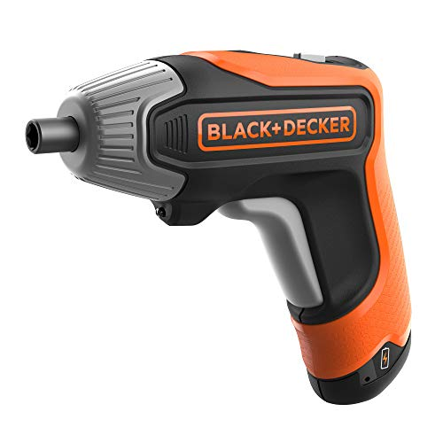 Black+Decker Akku-Schrauber (3.6 Volt, 5.5 Nm, mit LED-Licht, handlicher Schrauber für kleinere Schraubarbeiten, in Aufbewahrungsbox, inkl. USB-Schnell-Ladegerät und 10 Schrauberbits 25mm) BCF611CK