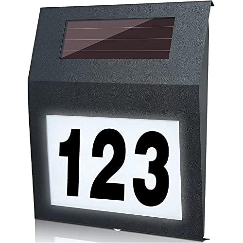 MOLVCE Anthrazit Hausnummer Solar Beleuchtete 2 LEDs Edelstahl Solarhausnummer mit Dämmerungsschalter IP65 Wasserdicht Außen mit Nummern 0-9 & Buchstaben A-H